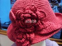 crochet baby caps 0- 8Y children' s fisher hats 2 big flo...