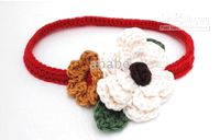 Crochet baby headbands girl with 2 flowers & leaves 100%...