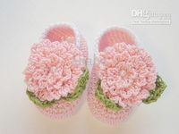 Crochet baby shoes first walker shoes 1 flower 2 leaves 0- 12...