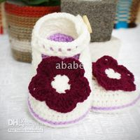 Crochet baby shoes Mary jane flower 0- 12M 15pairs lot cotton...
