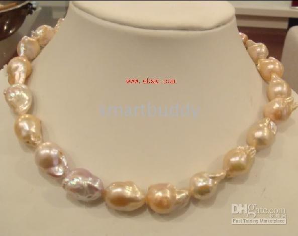 Wholesale genuine mm baroque south sea pink pearl necklace quot