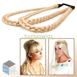 Wholesale New Arrival Colorful Double PLAITED BRAIDED Deck Plaited Hair Headband Blonde color