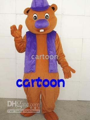 Unisex beaver plush - Purple hat beaver Plush Adult Mascot Costume Free S H