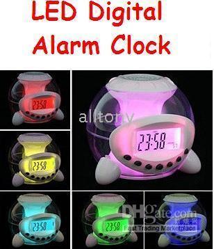 Wholesale LED electronic Digital color change Alarm Clock Led Night Light natural sound of music
