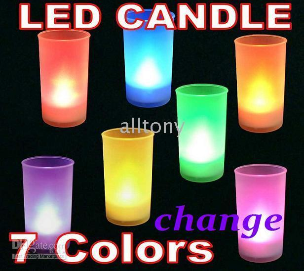 LED Color Change LED Candles - 7 Color LED Candle Change lights Remote voice Control electronic Frosted Material led