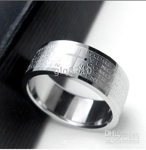 Band Rings bible pattern - New Titanium Steel Rings Bible Cross Pattern Stainless Steel Men s Ring Never Fade Color