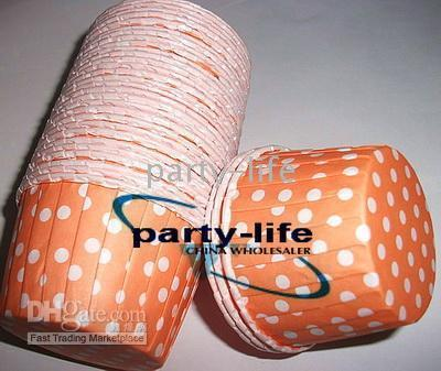 Wholesale 1500pcs Round MUFFIN CAKE WHITE DOT CUPCAKE CASES Orange
