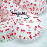 Wholesale tart cake chocolate paper cases cupcake with cherry pattern total Diameter is cm box