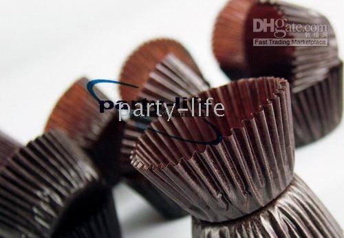 Wholesale tart cake chocolate paper cases cupcake Brown total Diameter is cm box