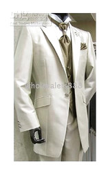 Custom Made Groom Tuxedos Best man Ivory Suit Wedding Groomsman Men Dinner Suits Bridegroom (Jacket+Pants+Tie+Vest)A353Q