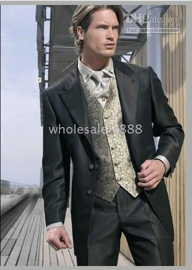 Custom Made   New Men Wedding Prom Clothing Groom Tuxedos Wear Bridegroom Suit (Clothes+Pants+Tie+Vest) A371A