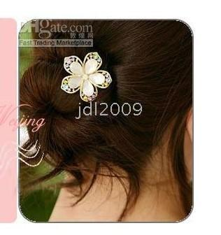 Wholesale Jewelry Hair accessories Hair omaments Hair clip Beautiful Flower hair clip with crystal Pink
