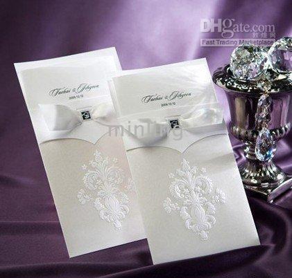 Wholesale 50PCS WHITE ROYAL WEDDING INVITATION CARDS WEDDING FAVORS WEDDING SUPPLIES B9014