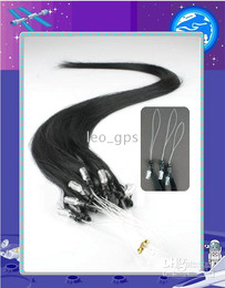 Wholesale 18 quot S Remy Easy Micro Loop Ring Human Hair Extensions Color Jet Black g S S pack