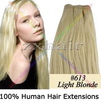 "150CM WIDE HUMAN HAIR WEFT EXTENSIONS #613, 20"" , 100g"