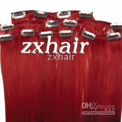 Wholesale 15 quot set remy Clip in hair Human Hair Extensions red