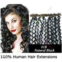 "200S 20"" Nail tip curly hair Human Hair Extensions natu..."