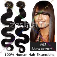 "200S 20"" wave Nail tip hair Human Hair Extensions #02"