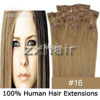"20"" 8pcs set Clip- in hair remy Human Hair Extensions #1..."