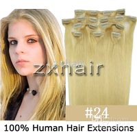 "20"" 8pcs set Clip- in hair remy Human Hair Extensions#24"