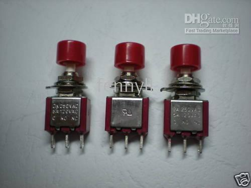 Push Button Switches Red  Momentary Red Push Button Switch 2A 5A 3pin 150 pcs por lot Hot Sale