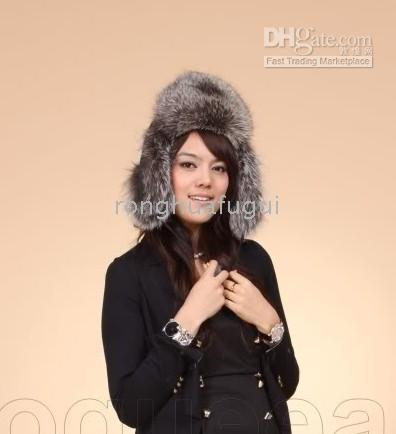 Wholesale The new real fox fur black snow hat