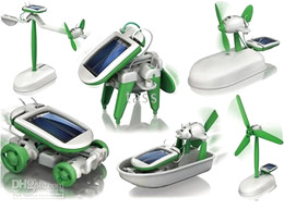 6 IN 1 Solar Toy ,DIY Educational Toy Kit Car Dog Airboat AirPlane Robot free shipping