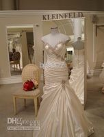 Wholesale Pnina Tornai Mermaid Wedding Dresses V Neck Satin wedding gowns Jobridal Custom Made