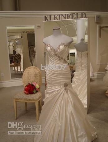 Wholesale Pnina Tornai Mermaid Wedding Dresses V Neck Satin wedding gowns Jobridal Custom Made