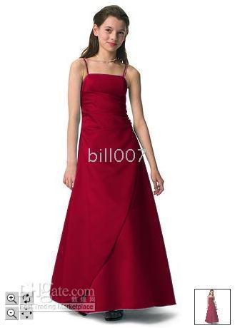 Wholesale 2010 Junior Bridesmaid Dresses Long Satin Spaghetti Strap Gown Style JB1675 Jobridal