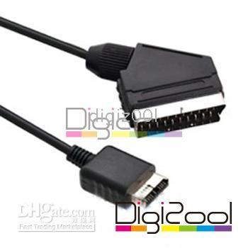 Wholesale RGB Scart AV Audio Video Cable for Sony Playstation PS2 TV cm m black new hot