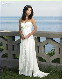 Wholesale Sexy Strapless Empire Appliqued Chiffon Informal Wedding Dresses For Brides Any Size and Color HS006