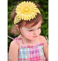 Wholesale Crochet head band girls Hair Accessories baby hair bow clip flower Crochet Headband clipper CL613