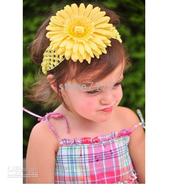 Crochet hair clipper accessories - Crochet head band girls Hair Accessories baby hair bow clip flower Crochet Headband clipper CL613