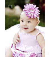 Wholesale Crochet head band girls Hair Accessories baby hair bow clips flower Crochet Headbands clipper CL614
