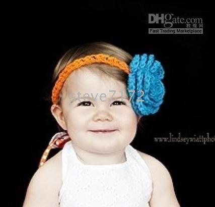 Crochet   Crochet head band girls Hair bands hairpin baby hair bow clip flower Crochet Headband clipper CL662