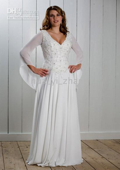 Hollow Beaded Sheath/Column Simple column V neckline long sleeve chiffon winter wedding dress for 2010 bride sgwd0006