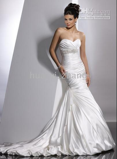 adorae wedding dress - Adorae Modern and Sexy Sweetheart Mermaid Beaded and Pleated Elastic Satin Wedding Dresses