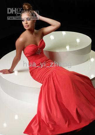 2011 prom - 2011 Mermaid Evening Homecoming Prom Dresses Strapless Pleated Chiffon Floor Length