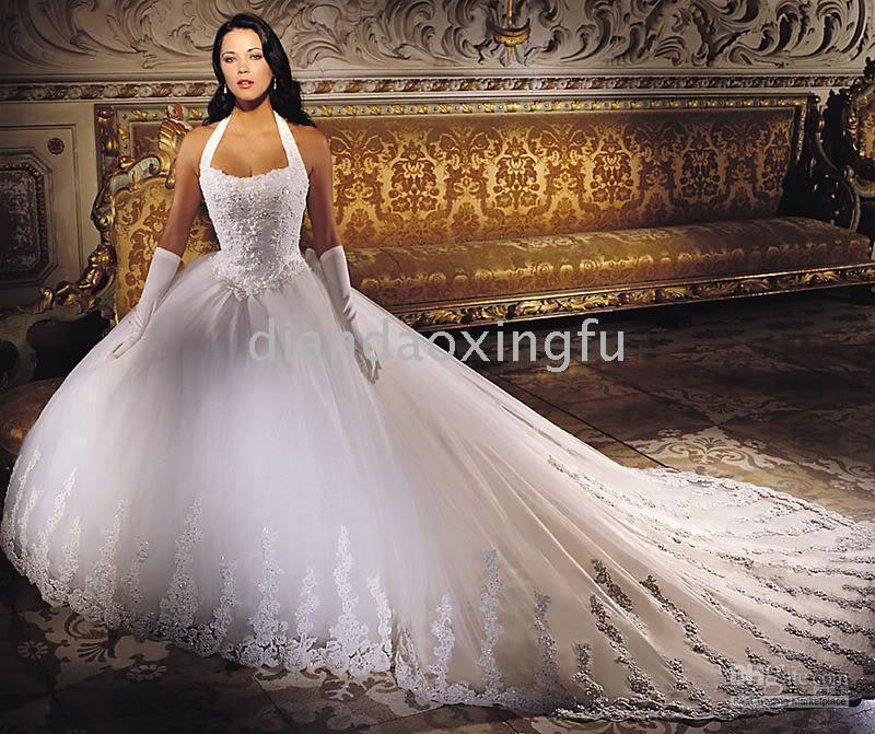White Bridal Wedding Dresses Gown Custom All Size Ball Gown ...