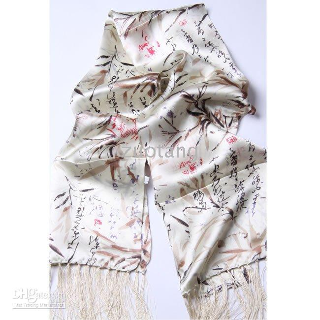 Wholesale Printed Mens White Silk Scarf Bilayer Tassel mix Free