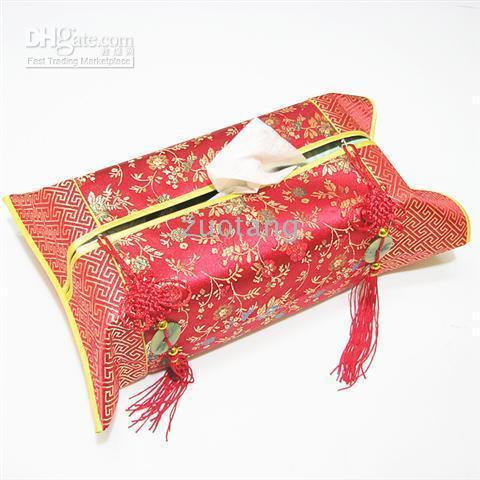Chinese Knot Jade Patchwork Removable Tissue Box Cover Car Home Decor Ethnic Silk Brocade Kleenex Boxes Case