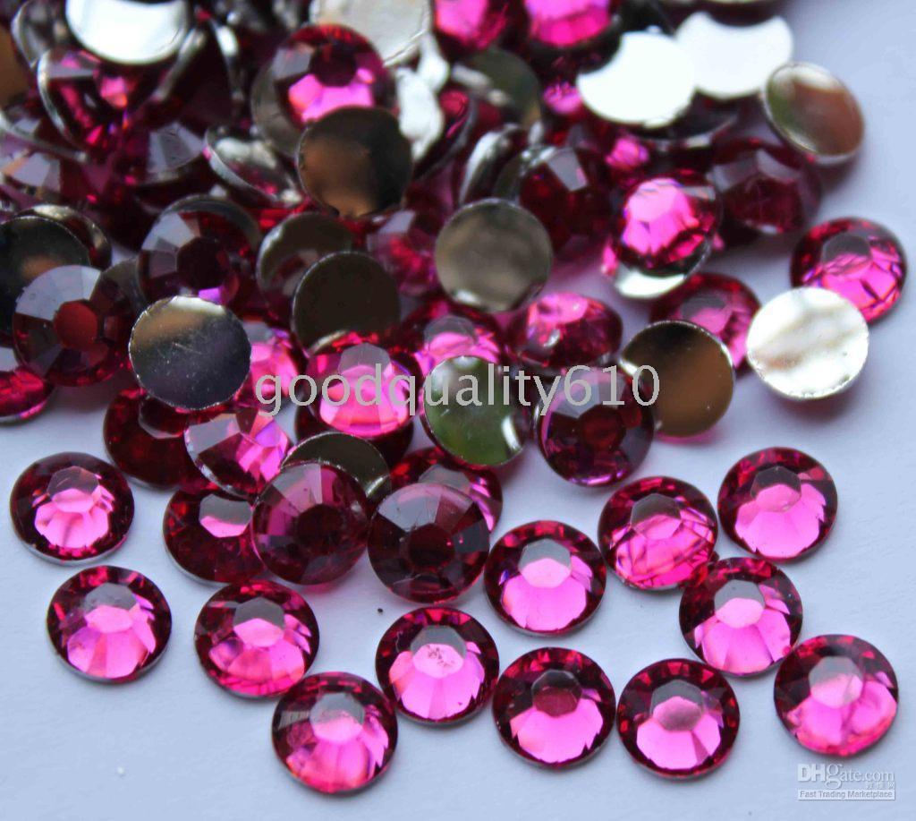 flat back gems - 2500pcs mm Fuchsia Flat Back Resin Rhinestones Gems