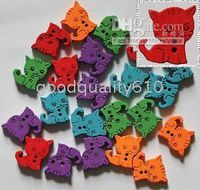 Wholesale 100pcs cat Wood Buttons Sewing Craft Assorted colors Hot