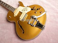 Wholesale Newest arrival ES Hollowbody Guitar Goldtop Electric Guitar WithBigsby