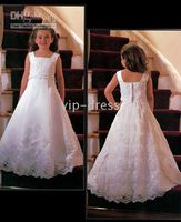 Wholesale Satin And Lace Applique Embroidery Flower Girl Dresses Kids Dress Children Kids Dress Gown FOF