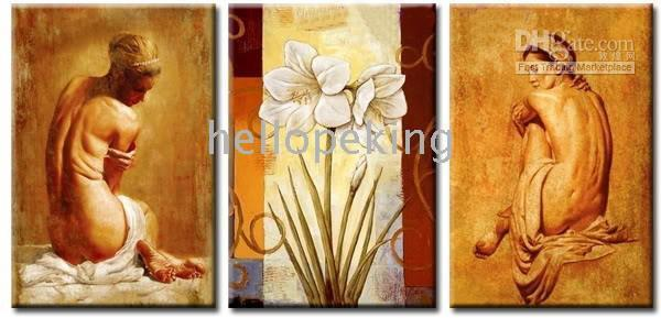More Panel Oil Painting Abstract Huge Deco Oil Painting Naked Art Canvas: Nude girl #032(framed)