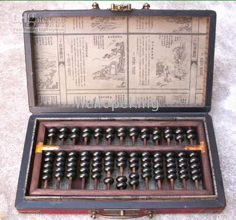 Wholesale RARE ABACUS WITH LEATHER WOOD DRAGON PHOENIX BOX