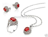 Wholesale ruby necklace pendant earrings ring set