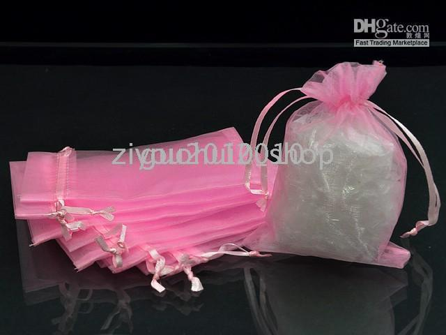 Wholesale 100 x20cm Pink Wedding Favor Organza Pouch Gift Bag